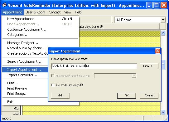Appointment Import for Reminder Call