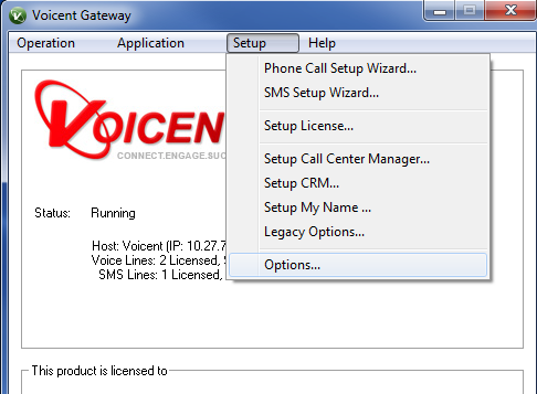 Voicent Gateway Window Options