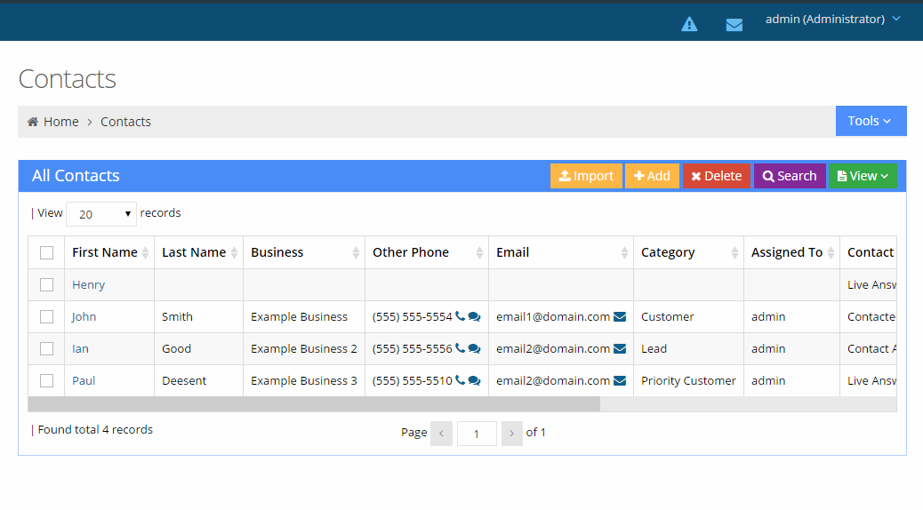 Import CRM contacts to Voicent CRM